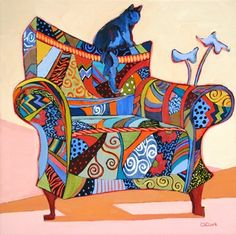 Best Seat in the House, contemporary painting of a chair and a cat, painting by artist Carolee Clark