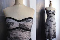 Italian Vintage Cocktail dress. Black lace Overlay. Strapless. La Sartoria.