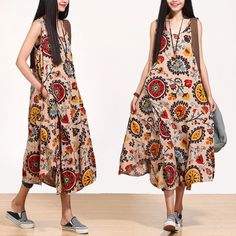 New Collection 2014 For Summer National Trend Print Sleeveless Cotton Linen Tank Dress Irregular O-Neck With Pockets $67.00