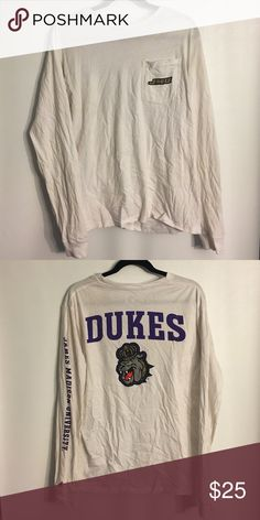 JMU dukes white long sleeved college shirt ADORE this material. League makes the comfiest shirts. this tee shows signs of being gently used but it's so comfy and cute. Victoria's Secret Tops Tees - Long Sleeve