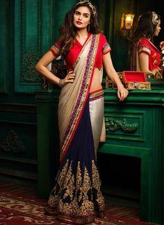 471e1757f2 Eid Offers Blue & Silver Colored Designer Pure Satin Saree With Georgette Embroidery  Sarees