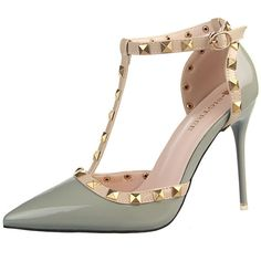 Buy Hot Sales European Style All Match Rivet Pointed Pumps Grey with... via Polyvore