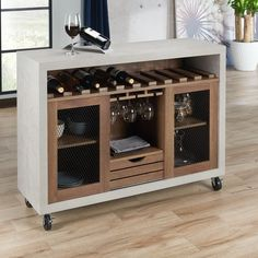 Shop Furniture of America Sene Contemporary 47-inch 1-drawer Rolling Buffet - On Sale - Overstock - 16994812 - Distressed Walnut