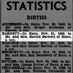 Reno Gazette-Journal, 23 Nov 1949, Wed, Main Edition  Birth announcement for Daniel Charles Barnett to Harold Earl Barnett & Clara Belle McGee Barnett