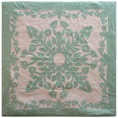 Hawaiian crib quilt seen at auction - 1st dibs - mounted on a frame stretcher.  East Meets West Antiques