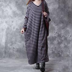 Autumn Loose Cotton V Neck Striped Dress
