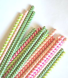 25 Chevron Berry Paper Straws Light Pink and Green Chevron Straws, Strawberry Shortcake- Lemonade StandParty by TheSimplyChicShop
