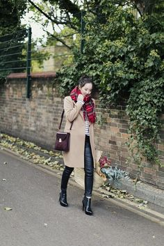 Stripe top, camel coat, Chelsea boots, red tartan scarf. Perfect!