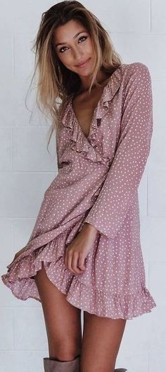 Printed Wrap Dress Source