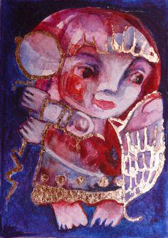 Angel Folk art painting, folk angel painting, naive art, primitive painting, folk art by Mariya Chimeva #NaivePrimitive