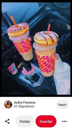Dunkin' Donuts coffee and donuts Dunkin' Donuts, Dunkin Donuts Coffee, Best Dunkin Donuts Drinks, Yummy Drinks, Yummy Food, Healthy Food, Tasty Snacks, Comida Disney, Bebidas Do Starbucks