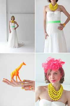 neon and white formalwear