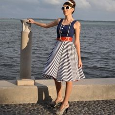 Sailor-style dress with flirty full skirt, how retro is this! #dress