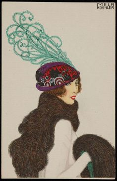 Series: Women wearing fashionable hats. Back: divided. Mint. B. K. W. I. 481-2 Printed in Austria.