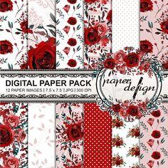 Watercolor Scrapbook Roses Digital Paper Pack