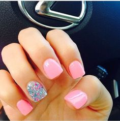 Hot Pink Nails - Glitter Accent