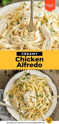 There's nothing like a bowl of creamy pasta! This traditional Italian pasta recipe is simple and quick to make for a weeknight dinner. Chicken and fettuccini with a creamy parmesan sauce. So comforting! Italian Pasta Dishes, Italian Chicken Recipes, Yummy Chicken Recipes, Homemade Chicken Alfredo, Parmesan Sauce, Creamy Pasta, How To Cook Pasta, Dinner Recipes, Traditional