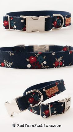 Flower Dog Collar for Girl - Floral Dog Collar - Girl Dog Collar - Silver Buckle Collar - Fall Dog Collar - Red White and Blue - Patriotic Fancy Dog Collars, Diy Dog Collar, Dog Collars & Leashes, Dog Accesories, Pet Accessories, Online Pet Supplies, Dog Supplies, Dog Crafts, Girl And Dog