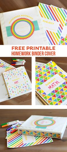 DIY Back to School Homework Station Ideas - Homework Organizer Binders with Free Printable Covers via i heart naptime