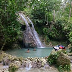 After a jeep, a habal-habal and a trek through the coconut plantations of Dalipuga we arrived at this waterfall. Our first waterfall for the day.  Pampam Falls #Iligan City #Mindanao #Philippines #TravelPH