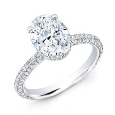1.15 Ct. Oval Cut Micro Pave Diamond Engagement Ring G, VS1 GIA - Micro Pave Oval Cut Diamond Engagement Ring