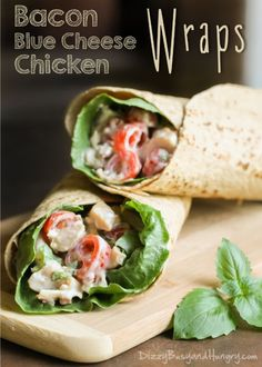 Bacon Blue Cheese Chicken Wraps | http://DizzyBusyandHungry.com - These delicious chicken wraps with bacon and blue cheese are perfect for a quick, easy dinner on busy weeknights!