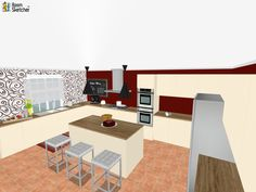 Coffee, cake or dual ovens -- What's YOUR favorite thing about this kitchen floor plan?  Visualize your kitchen remodeling project for free: http://planner.roomsketcher.com/?ctxt=rs_com  3D floor plan designed by Franziska Shu, RoomSketcher user