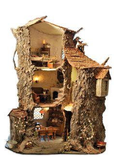 Fairy House - How to Make Amazing Fairy Furniture Miniature Trees, Miniature Fairy Gardens, Miniature Houses, Fairy Tree Houses, Fairy Garden Houses, Brambly Hedge, Fairy Furniture, Gnome House, Fairy Doors