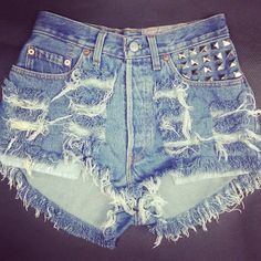 Distressed denim studded high waisted shorts