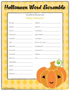 kids halloween word scramble printabe game for party fun - Halloween Word Game