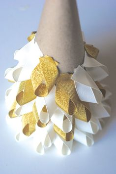 Easy Christmas Craft Ideas: Ribbon Trees. In burlap...with red burlap mixed in…