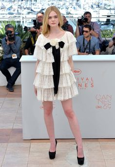 Elle Fanning in Chanel at Cannes.