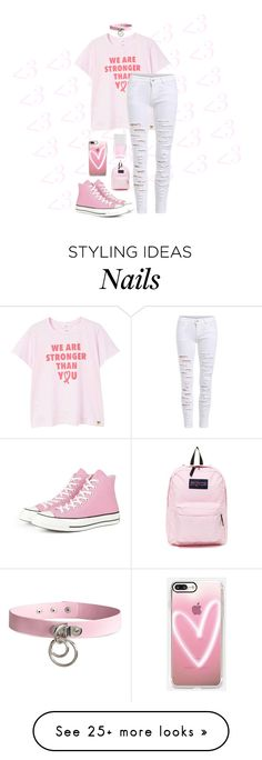 """~""you can see my heart, it's see-through""~"" by maplekim on Polyvore featuring MANGO, Converse, JanSport, Nails Inc., Casetify and H&M"