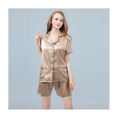 19 Momme Silk Pajamas Set Short Sleeve Shirt & Shorts with Trimming - ChicHouz