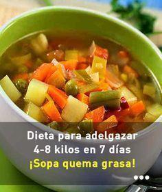 Dieta para adelgazar 4-8 kilos en 7 días. Sopa quema grasa. #comida #sopa #paraadelgazar #quemar #grasa #bajarpeso
