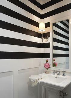 Suzie: Lynn Morgan Design - Powder room with black white striped walls, board and batten, . Bad Inspiration, Bathroom Inspiration, Bathroom Ideas, Family Bathroom, Downstairs Bathroom, Design Bathroom, Bathroom Interior, Wc Decoration, Decoracion Vintage Chic