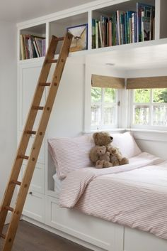 built in bed, bookshelves above, and ladder