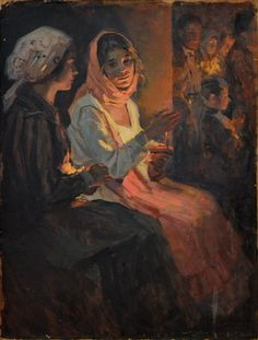 Nicolae Vermont ~ All-Night Vigil during Passion Week: Post Impressionism Art, Exotic Art, Shadow Photography, Great Paintings, Russian Art, Christian Art, Kirchen, Religious Art, Ancient Art