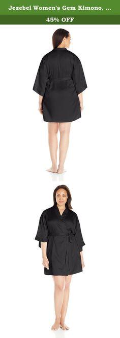 Jezebel Women's Gem Kimono, Black, 1X. Luxurious satin wrap is a must have in every Lingerie wardrobe.