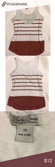 NWOT ☀️ Lucky Brand Striped Lace Tank Top SZ XS This classic Lucky Brand chic boho bohemian tank top shirt is brand new without tags. Never worn or washed. Size Extra Small XS. Cream and brown with lace embellishments.    Tags: hippie, gypsy, fashion, designer, cute, artsy, classic. Lucky Brand Tops Tank Tops