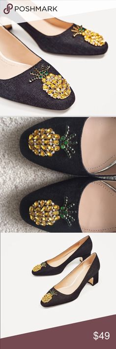 4555c53d1cfc Zara Pineapple Embellished Heels Grey denim  40