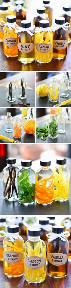 DIY Flavored Extracts | Learn how to make your own extracts at home: Mint, Orange, Lemon, and Vanilla.