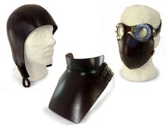 STEAMPUNK LEATHER SET in dark brown  goggles mask hat by MannAndCo