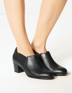 Shop this Wide Fit Leather Block Heel Chelsea Shoe Boots at Marks & Spencer. Browse more styles at Marks & Spencer US Fashion Pants, Fashion Shoes, Chelsea Shoes, Wide Fit Shoes, Wide Feet, Timeless Fashion, Leather Shoes, Black Boots, Block Heels