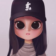 Cartoon, Portrait, Digital Art, Digital Drawing, Digital Painting, Character Design, Drawing, Big Eyes, Cute, Illustration, Art, Girl, Cap, Mickey, Mouse, Sweater