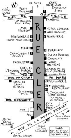 Hand-drawn map showing where to buy the best French food at the Rue Cler market in Paris, France