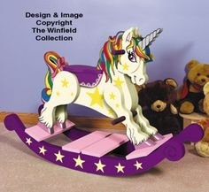 Our sturdy Classic Rocking Horse can give giddy-up rides to wee ones or be used as decoration. Exclusive, keepsake rocking horse is popular at craft shows and cherished by grandchildren. Unicorn Rocking Horse, Rocking Horse Plans, Rocking Horses, Unicorn Crafts, Unicorn Art, Charlie Horse, Wood Burning Crafts, Horse Pattern, Wooden Horse