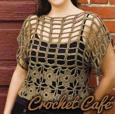 crochet top (the pattern is there as written directions, but in Russian - maybe) Crochet Woman, Love Crochet, Beautiful Crochet, Crochet Squares, Crochet Stitches, Crochet Patterns, Crochet Tunic, Crochet Clothes, Crochet Summer Tops