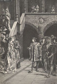 The meeting between Charles VIII and Anne of Brittany. gravure issue de l'ouvrage Histoire de France, par François GUIZOT, France, 1875.