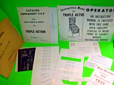 Williams Triple Action 1974 Original PINBALL MACHINE Manual Paperwork Schematic #WilliamsTripleAction
